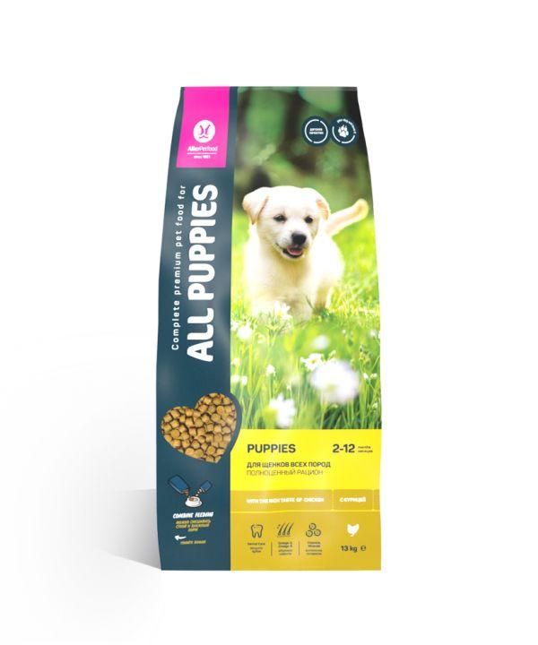 Сухой корм для щенков All Puppies  с курицей 15 кг